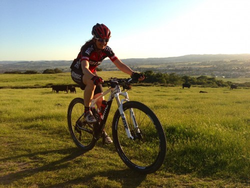 Trudi out towards dusk riding a BMC 29'r in California.  Now she wants one, go figure.