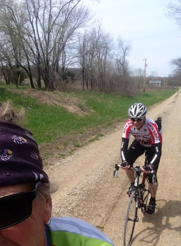 Dennis following on gravel on his new road bike.  It is rarer than a Yeti sighting.
