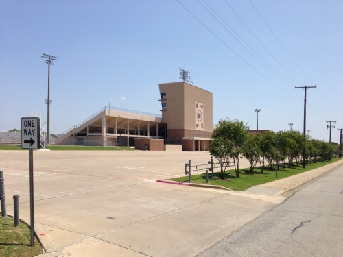 This is a local Dallas suburb high school football stadium.  It is bigger than the one at the University in Topeka.