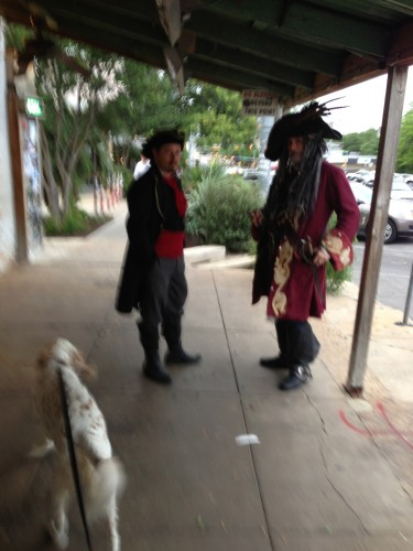 Bromont walking by some pirates on South Congress.