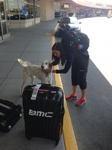 Trudi and Bromont at the airport Monday night.
