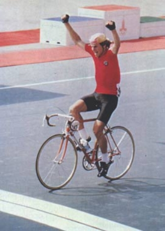 Soukho winning the Olympic Games in 1980 with his high socks of the times.