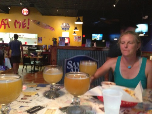 Michelle, Brian wife, at dinner, with schooners of beer.  Man, did those taste great.