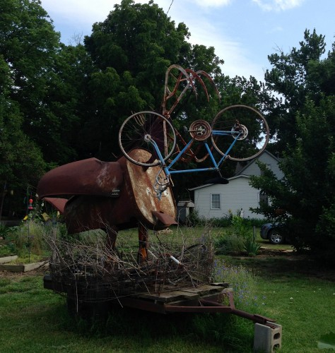 There is a guy in Dover that doesn't much like cyclists.  He made this piece and it is sitting on the crossroads in Dover.