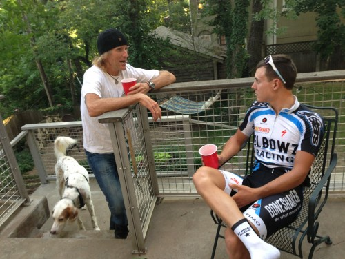 I went to a party afterwards at Matt Gilhausen's house, which is right on the course.  Here I'm talking to Joseph.