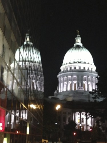 Nice artsy picture of the Wisconsin Capitol building on the night walk.