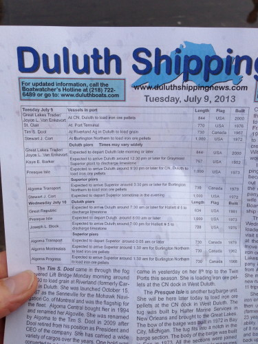 Everyday the print a Shipping News saying when each ship is going to come into port.