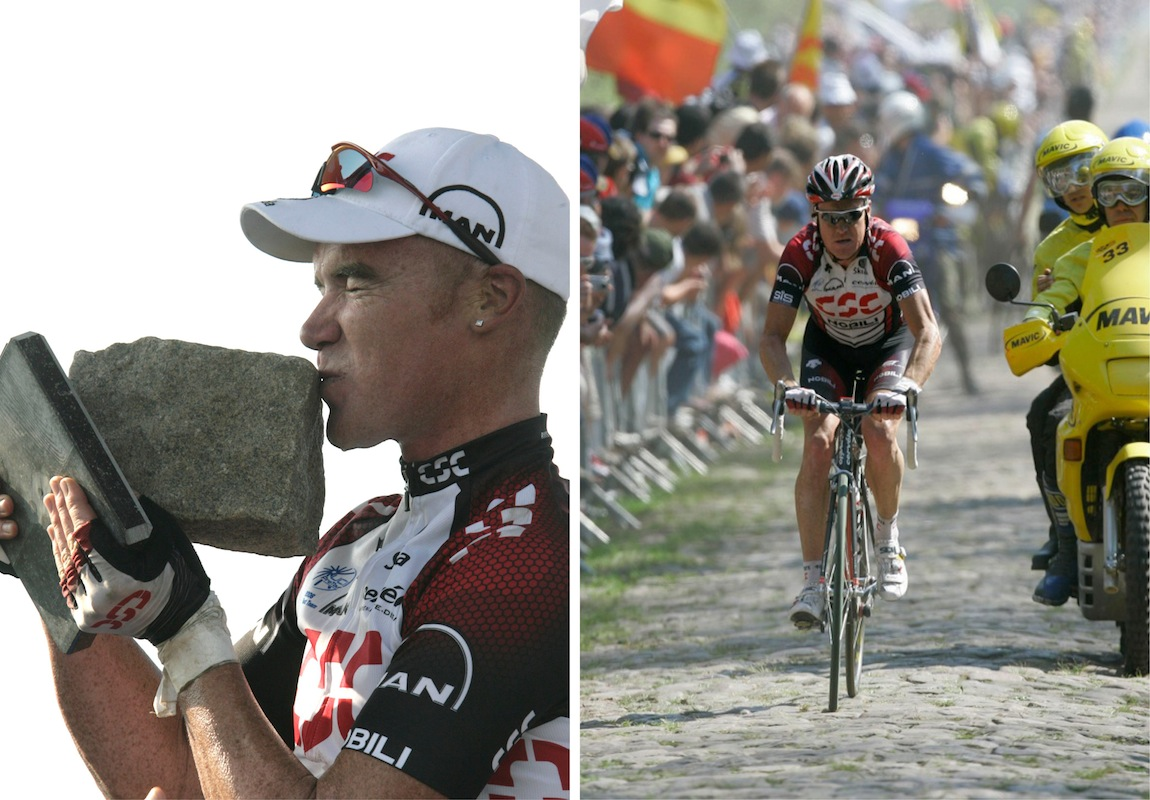 Stuey winning Paris-Roubaix clean back n 2007.