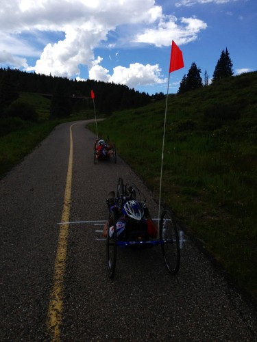 These guys were near the top of Vail Pass too.  I can't believe how hard it must be to do this.  I was so impressed.