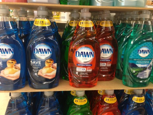 I didn't realize that they made so many different colors of Dawn.  Dawn is by far the best soap to use washing bikes.  I've used it for decades.