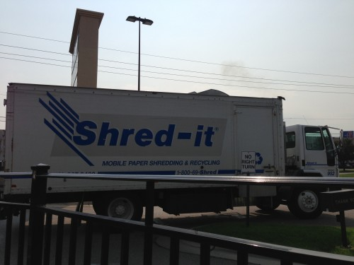 I saw this truck after all this.  We are so paranoid that we have big trucks rolling around that shred our paperwork.