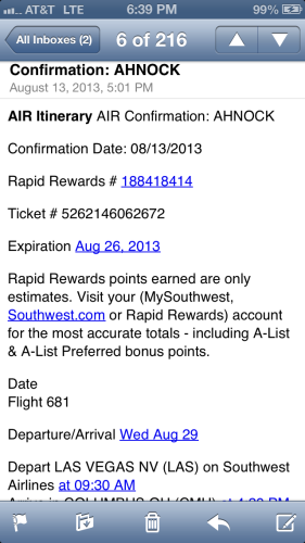 My Southwest confirmation.