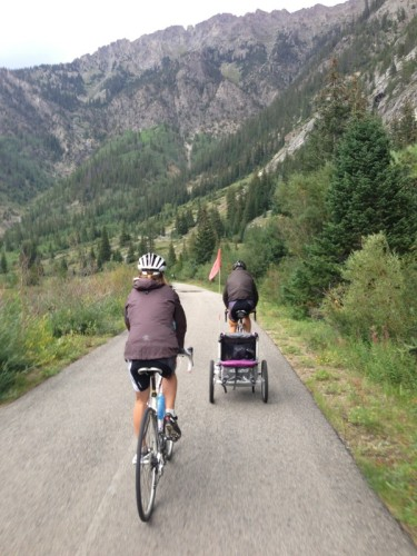 My old Specialized team mate, Peter Swenson and his wife and baby, riding back from the Vail time trial.
