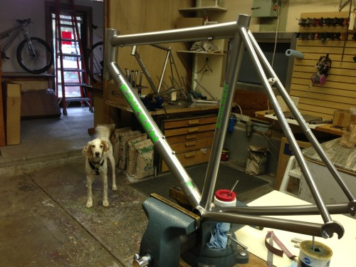 At Kent Eriksen's shop taking a look at my new road frame.