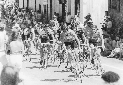 Dale, 2nd for the front, at the Nevada City Criterium.  I'm out of the picture, obscured, but my team mate Andy Hampsten is there along with Chris Carmichael and a few others.
