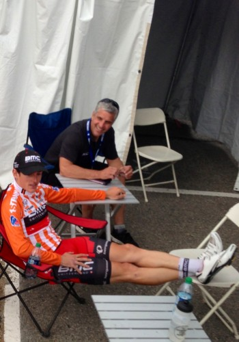 This is Eric Heiden, one of the team doctors from BMC, waiting at drug control with yesterday's stage winner, Mathias Frank.
