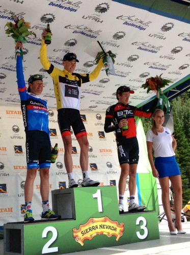The podium from yesterday's Tour of Utah with Chris Horner at the top.
