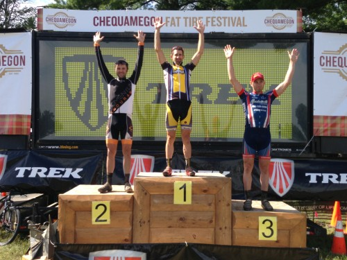 Men's podium - TJ Woodruff 3rd, Brian Matter, 1st, Michael Olheiser, 3rd.
