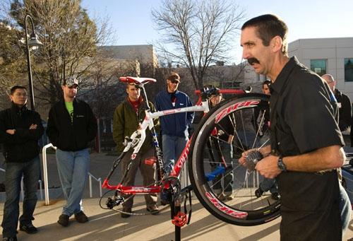 Here is Calvin Jones, of Park Tools, teaching at the BIll Woodall Cycling Clinic for USA Cycling.