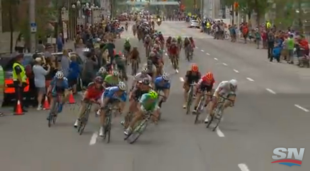 Check the angle at that Peter Sagan's bike is at compared to the other riders.