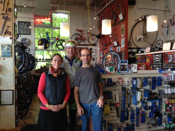 Paul, Jamie and I at the Classic Cycle shop.