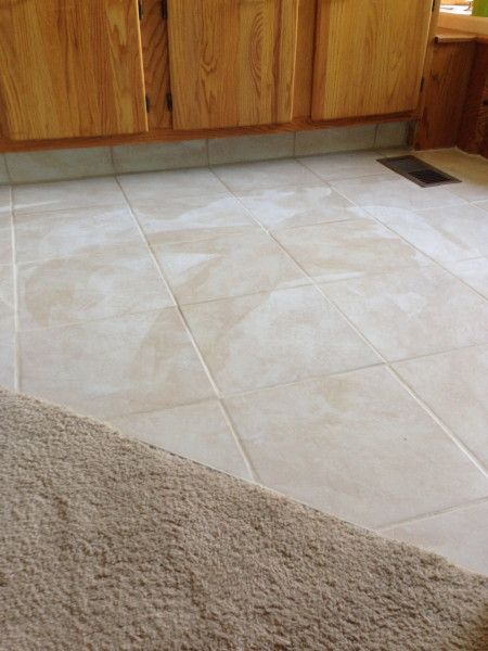 Finished floor, with a little grout haze.