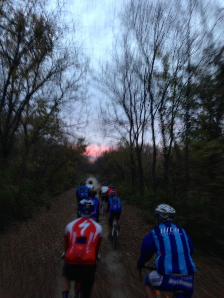 It is just dusk when we were heading out-of-town on the Landon Trail last night.