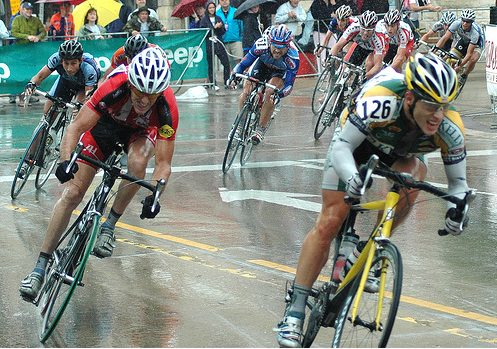 Racing in the rain is a different story.  Here is a photo of the last corner of Elite Criterium Nationals from 2007.