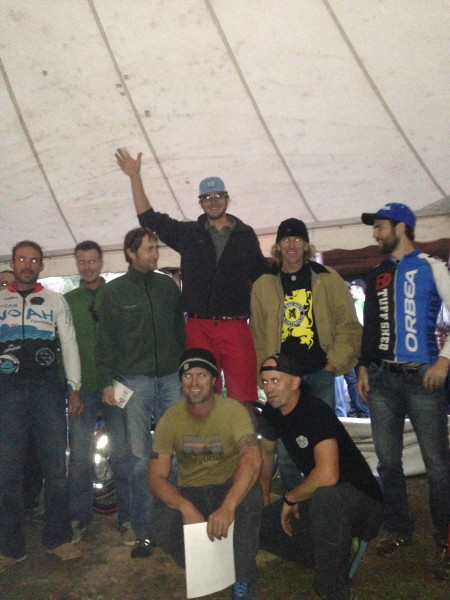 The top ten, with the promoters, Scott and Jacob kneeling.  Garet had drank the better part of a  keg already personally.