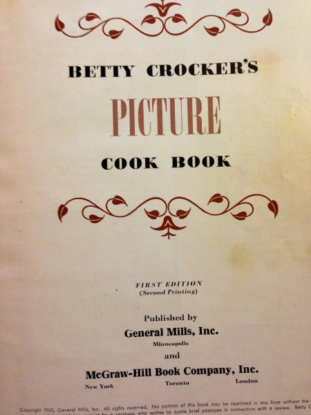 Inside page of the Betty Crocker cookbook.