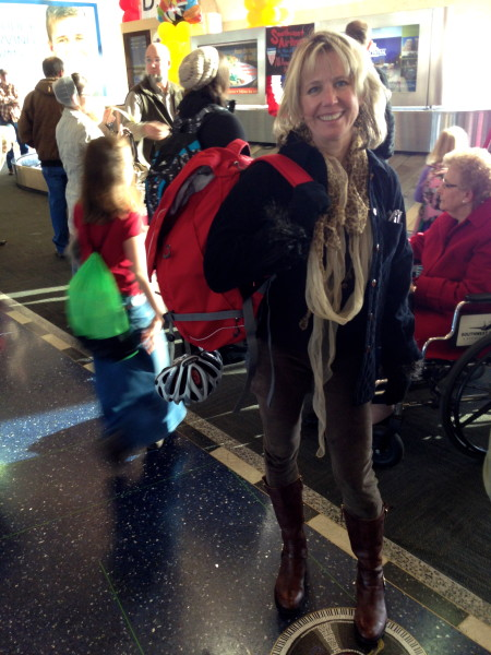 Catherine back at the Kansas City airport.