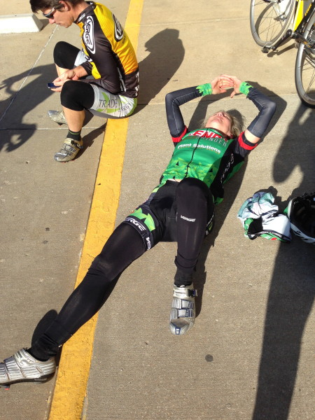Catherine taking a little break 30 miles into the ride.