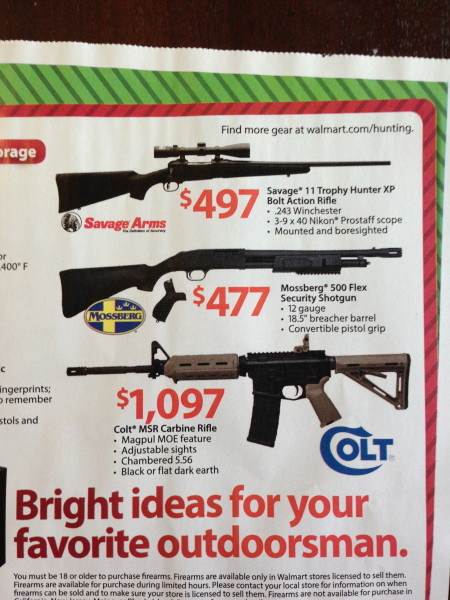 "How about Black Friday sales at Walmart?  An AR-15.  ""For your favorite outdoorsman""? I don't think many people think of this gun as one for hunting.   It is pretty much an assault rifle."