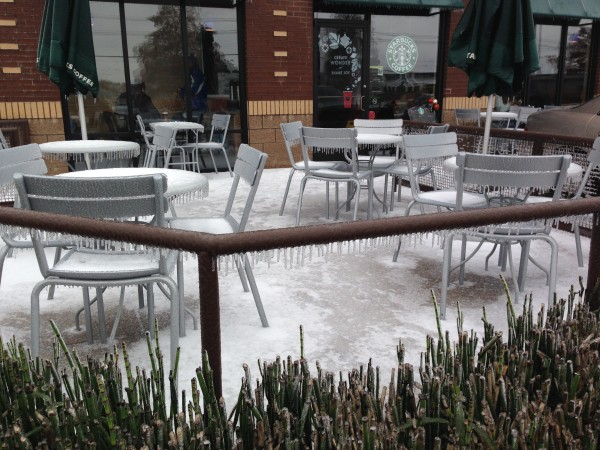 Starbucks was pretty iced in too.  They don't really have any rock salt or snow shovels in this city.
