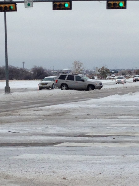 This guy just spun into the median in front of use this morning.  I'm not sure what happened, but he had zero percent chance of getting off this by himself.