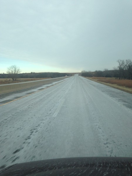 This is salt, not snow on the Kansas Turnpike.