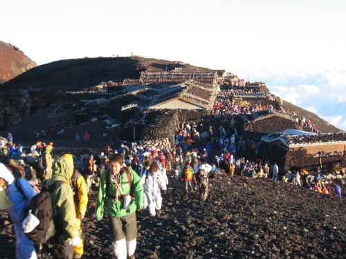 Summer pilgrimage on Mt. Fuji.