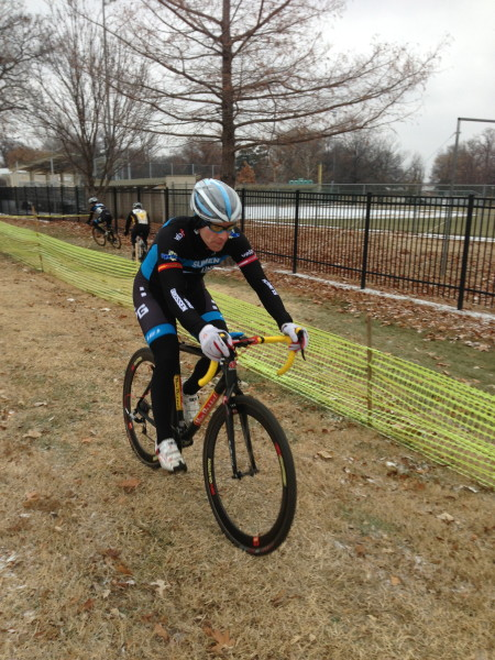 Jeff Unruh, the race promoter and all around cyclocross guru, racing yesterday.