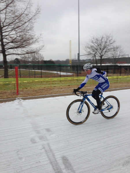Joseph Schmalz winning the 1/2 race.  He is state Champion on the road, criterium and now cyclocross.  A clean sweep.
