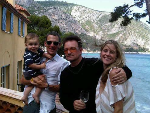 Lance and Bono, of U2, having lunch on the French Riviera.