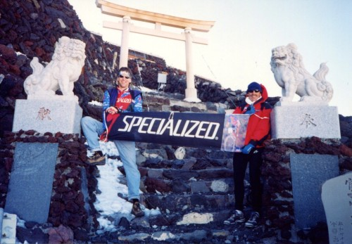 Near the top of Mt. Fuji, flying the Specialized colors.