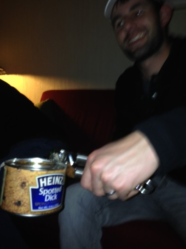 Here is Ian opening up a can of Spotted Dick at the party last night.  I didn't try any.