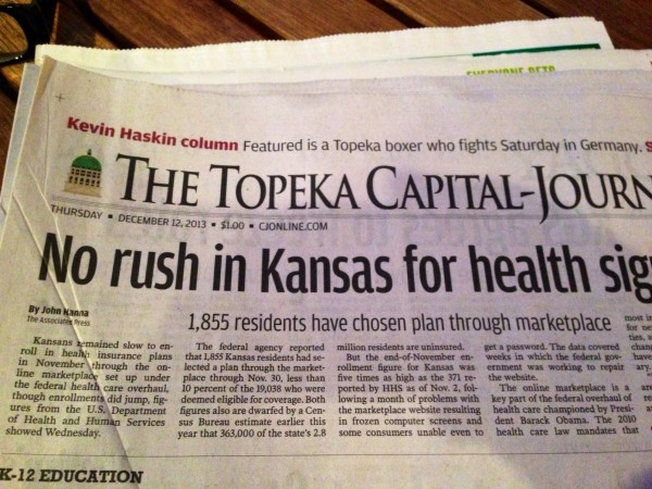 Kansas aren't so inclined to look into the ACA either.  This headline of the Topeka paper says that only 1855 people have signed up for it so far.  That is out of an estimated 363,000 people that don't currently have health insurance now.  That is about 0.5% of the unisured people here.  Wow is all I can say.