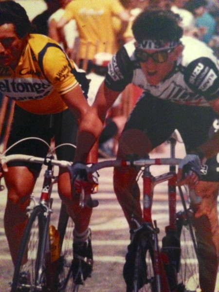 Sprinting for a $500 prime on the Morgul-Bismark course at the Coor's Classic with Giuseppe Saronni, sans helmet.
