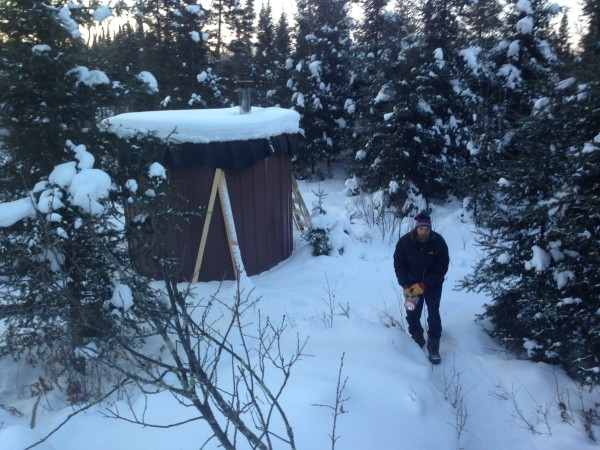 The sauna is a few hundred meters away.  It is wood heated.  It was super hot, like over 200 degree +++  hot.  It was great going out into the snow after roasting.   It was pretty strange, standing nude in the woods at close to -20 degrees and feeling pretty warm.