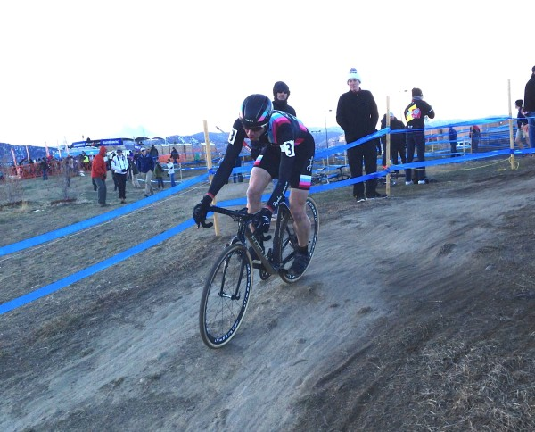 Jeremy Powers on his final lap.  You can see how rock hard the ground is.