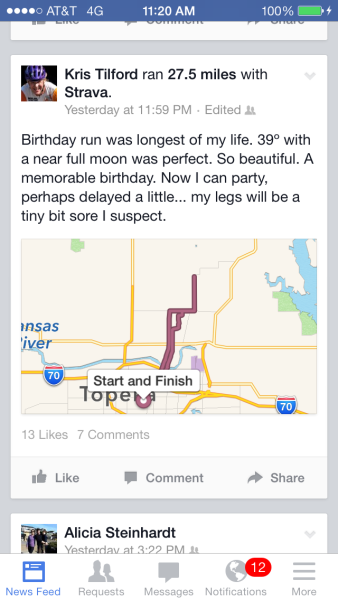 Kris decided he wanted to run a marathon before his birthday, so he just did it.  Ouch.