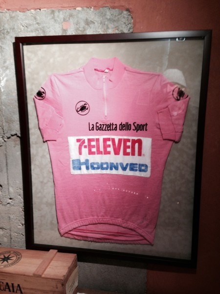 Andy's Giro jersey down in his wine cellar.