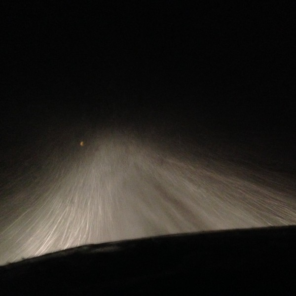 Whiteout driving back.
