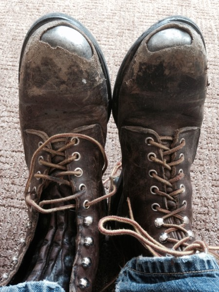 These are my favorite work boots.   The are Redwing, obviously steel toed.  I shouldn't use them for tiling or cement work, but I always do.  I should know the model number, off the top of my head, but I don't.   They come in different widths and last forever.  The laces never wear out.